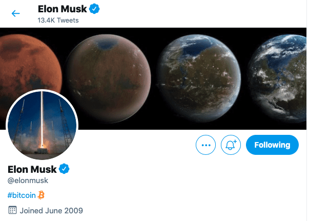 Elon Musk adds #Bitcoin to Twitter Profile