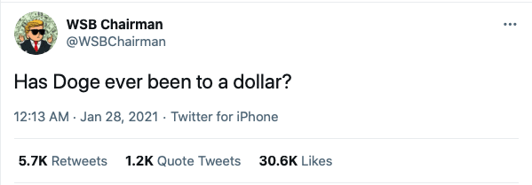 Tweet about DOGE reaching a dollar