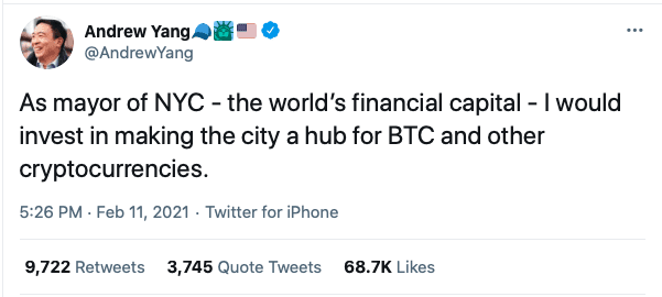 Andrew Yang tweets about New York becoming a Crypto hub