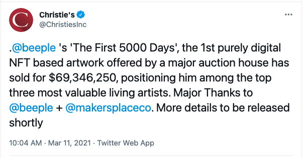 """Christie's tweets about Beeple's """"The First 5000 Days"""" NFT artwork"""