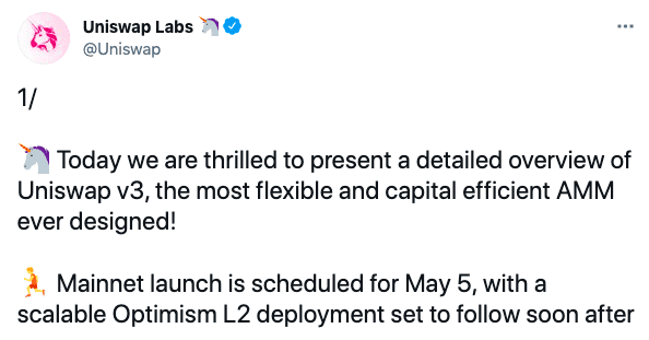 Uniswap, Uniswap Announces V3 Update Set For Mainnet Launch On May 5