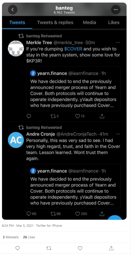 Yearn Finance and Cover Protocol
