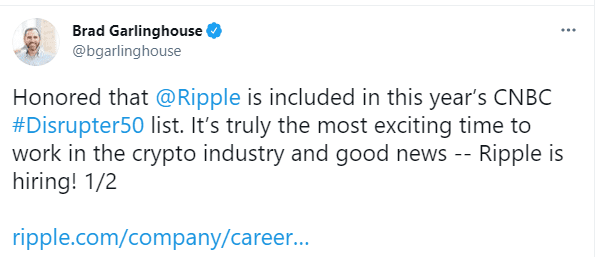 Ripple, XRP Gains After CNBC Includes Ripple Labs In #Disruptor50 List