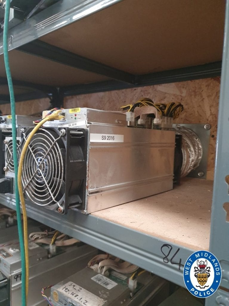 The cryptocurrency farm powered with stolen electricity. Credit: West Midlands Police