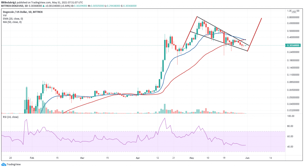 Dogecoin on the verge of gains, according to the falling wedge pattern. Source: DOGEUSD on TradingView.com