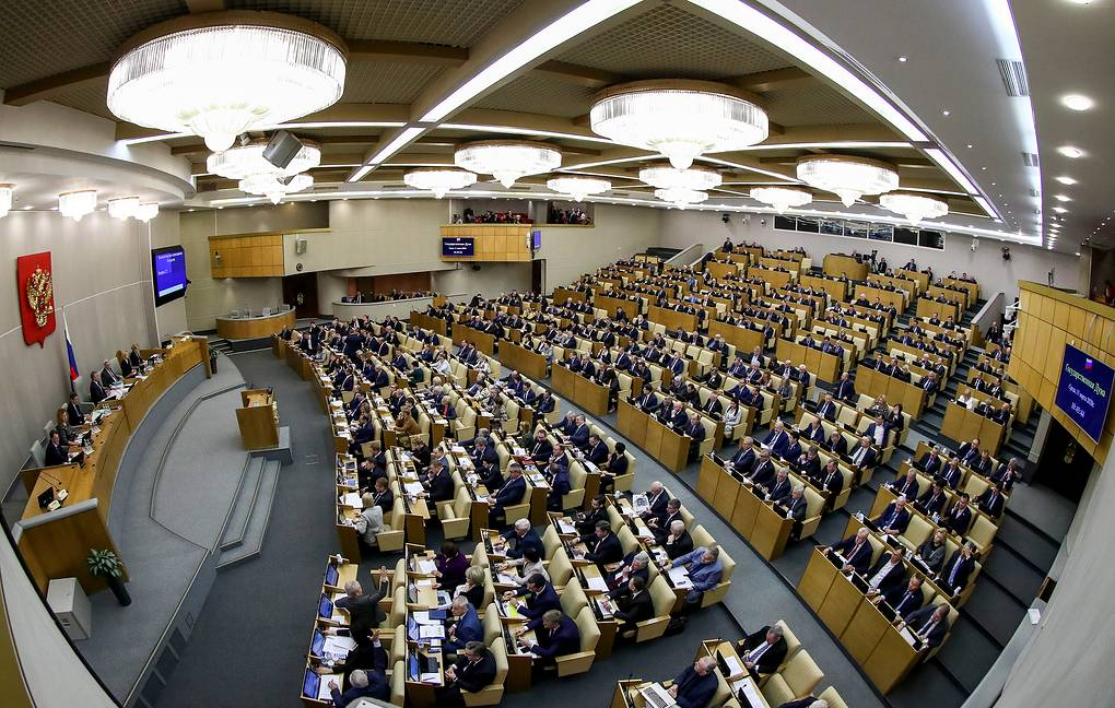 MOSCOW, RUSSIA - MARCH 11, 2020: A plenary meeting of the Russian State Duma, the lower house of the Russian Parliament, to consider constitutional changes in the third and final reading. Anton Novoderezhkin/TASS