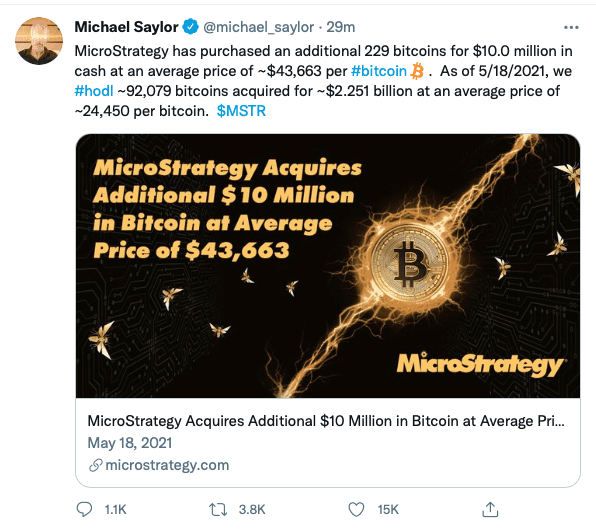 MicroStrategy, MicroStrategy Purchases $10 Million in Bitcoin