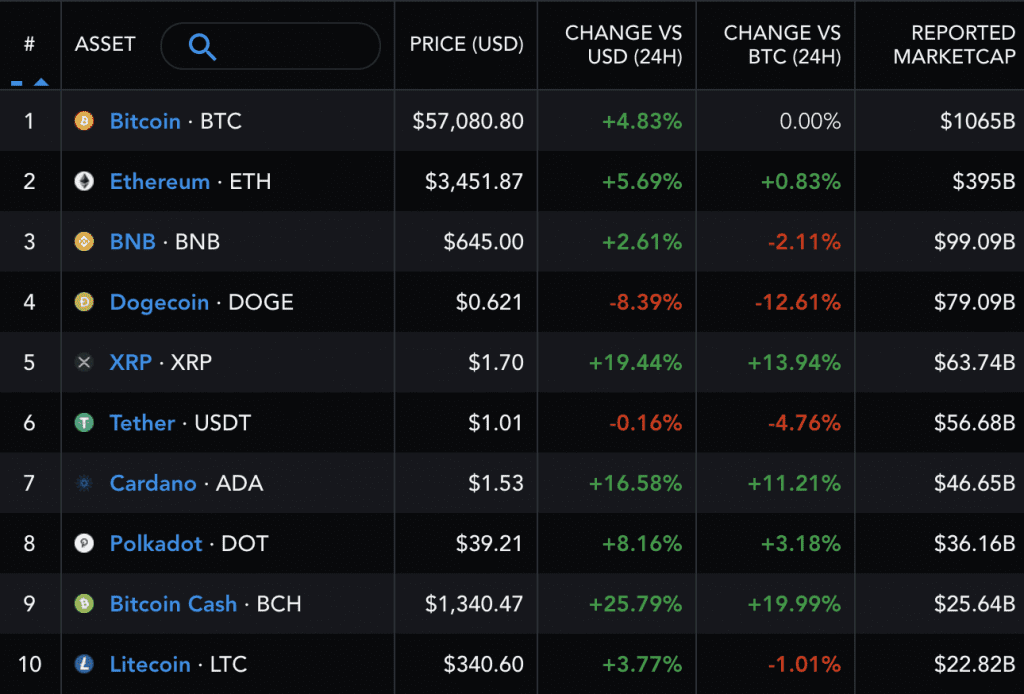 Performance of the top ten crypto assets