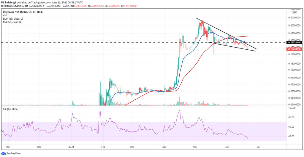 DOGE traded in a falling wedge reversal pattern. Source: DOGEUSD on TradingView.com