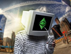 """""""Ethereum Classic Wallpaper - Hacker Head II""""byEthereumClassic (marked withCC0 1.0)"""