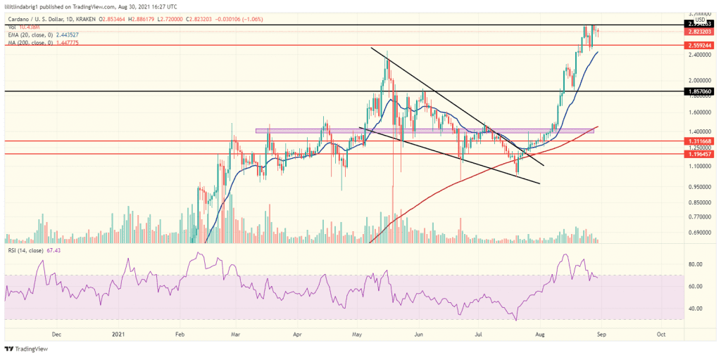 Cardano (ADA) in a consolidation phase. Source: ADAUSD on TradingView.com