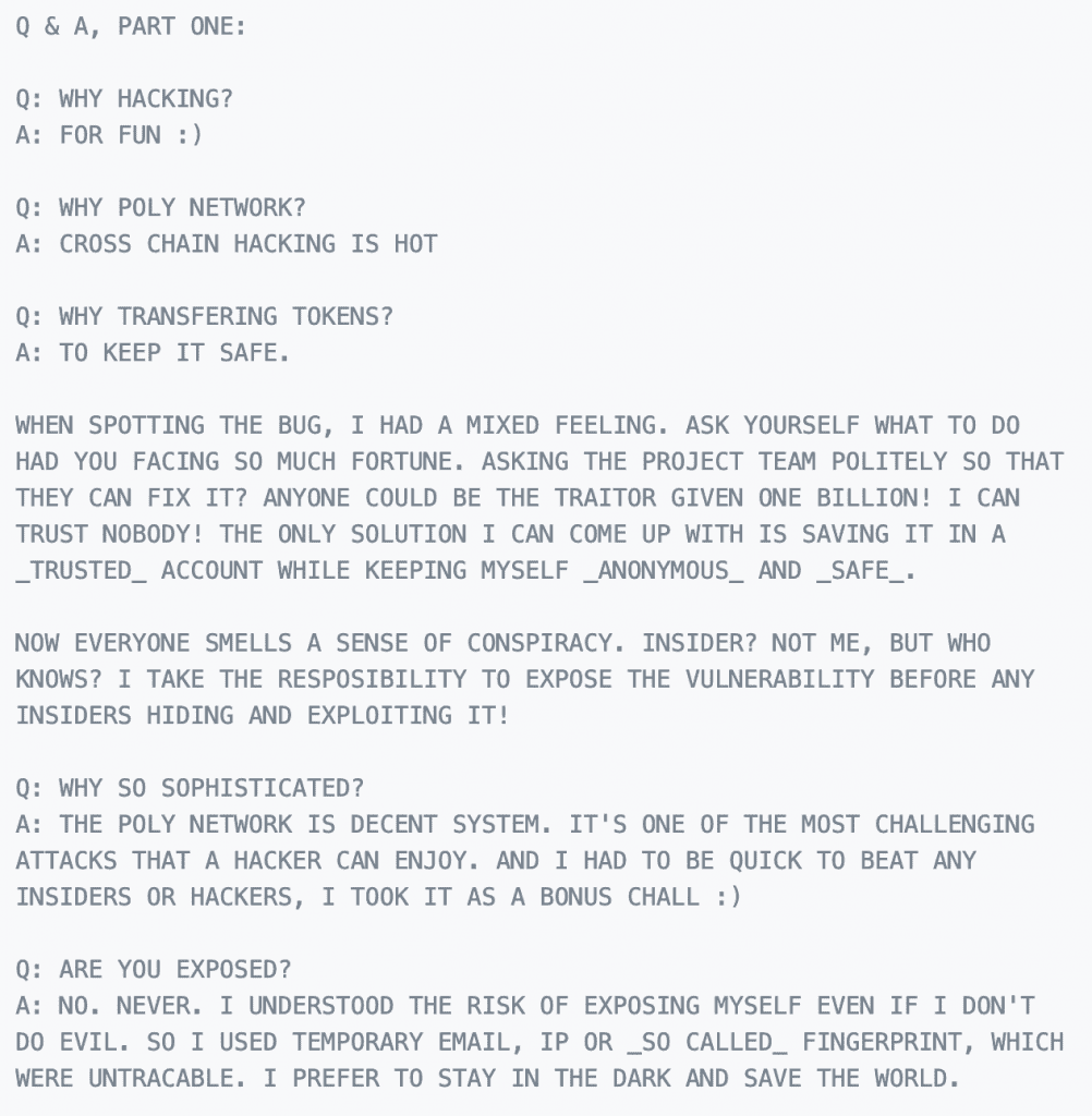Poly hacker replies to the  Network. Source: Tom Robinson on Twitter.com