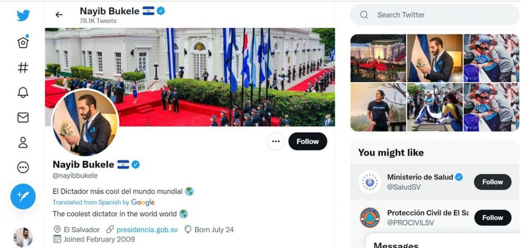 """President of El Salvador Nayib Bukele changed his Twitter bio to """"dictator"""" as his country buys more Bitcoin (BTC) during the price dip"""