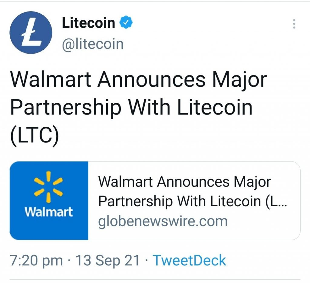 A fake press release about Walmart accepting Litecoin (LTC) payments sent LTC prices temporarily soaring in a classic case of pump-and-dump.